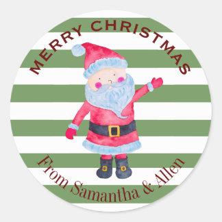 Adesivo Redondo Listras de Papai Noel personalizadas