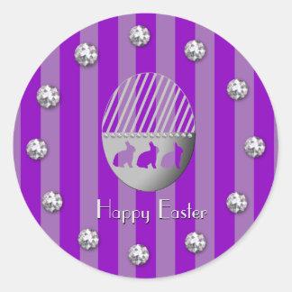 Adesivo Redondo Listras do coelho do ovo da páscoa e prumos roxos