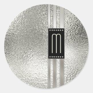 Adesivo Redondo Listras do metal no monograma de vidro ID443 bege
