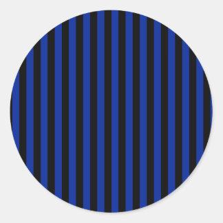 Adesivo Redondo Listras finas - pretas e azul imperial
