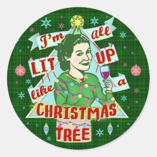 Adesivo Redondo Lit retro da mulher do humor do bebendo do Natal