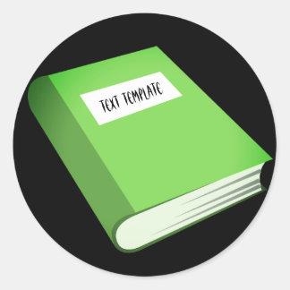 Adesivo Redondo Livro Verde Emoji do texto | de Templated