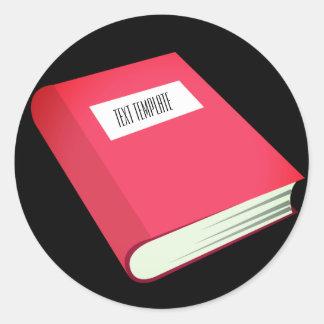 Adesivo Redondo Livro vermelho Emoji do modelo | do texto