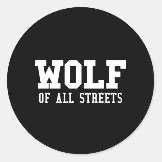 Adesivo Redondo Lobo agradável de todo o impressão das ruas