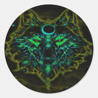 Adesivo Redondo Lobo amarelo de néon Mythical