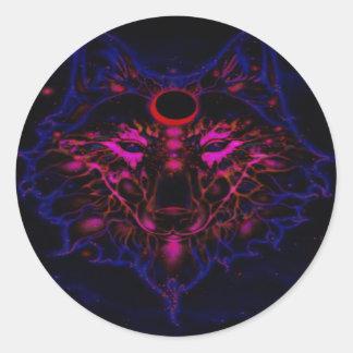 Adesivo Redondo Lobo azul de néon Mythical