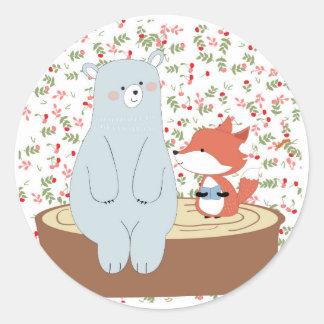 Adesivo Redondo Lobo bonito da raposa do verão do primavera do