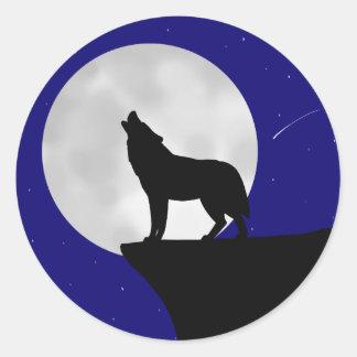 Adesivo Redondo Lobo que urra na lua