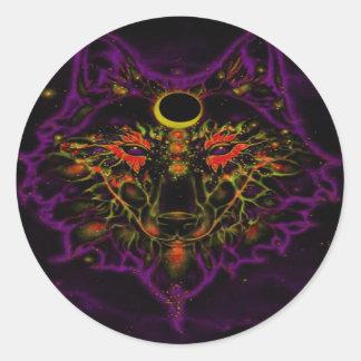 Adesivo Redondo Lobo roxo de néon Mythical