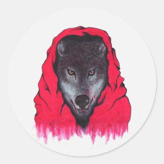 Adesivo Redondo Lobo vermelho da equitação (etiquetas)