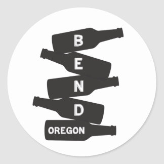 Adesivo Redondo Logotipo da pilha da garrafa de cerveja de Oregon