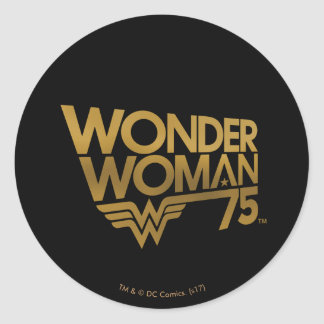 Adesivo Redondo Logotipo do ouro do aniversário da mulher