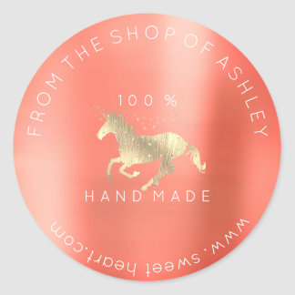 Adesivo Redondo Logotipo Handmade das estrelas conhecidas do