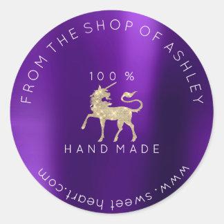 Adesivo Redondo Logotipo Handmade de 100% do unicórnio conhecido