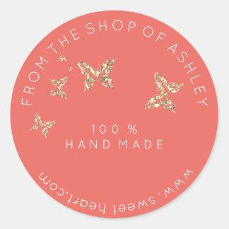 Adesivo Redondo Logotipo Handmade do ouro conhecido das borboletas