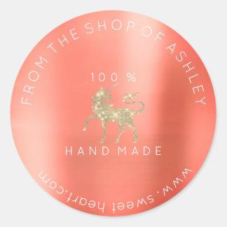 Adesivo Redondo Logotipo Handmade do ouro coral do unicórnio da