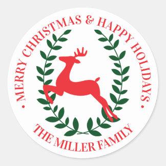 Adesivo Redondo Louros da rena do Feliz Natal | boas festas