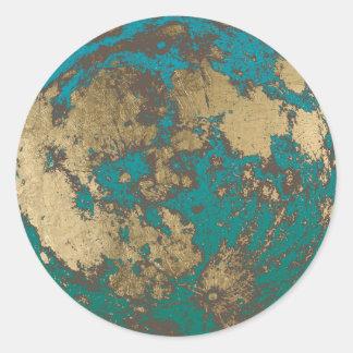 Adesivo Redondo Lua cheia moderna do ouro da lua oxidada
