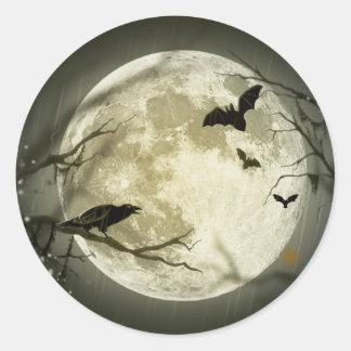 Adesivo Redondo Lua do Dia das Bruxas - ilustração da Lua cheia