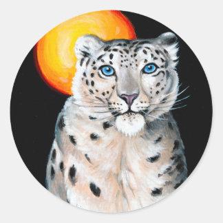 Adesivo Redondo Lua do leopardo de neve