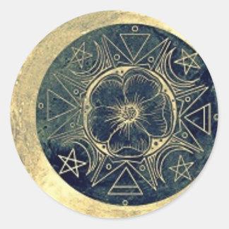 Adesivo Redondo Lua e talismã das estrelas