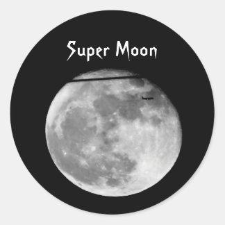 Adesivo Redondo Lua super com a passagem do avião/customizável!