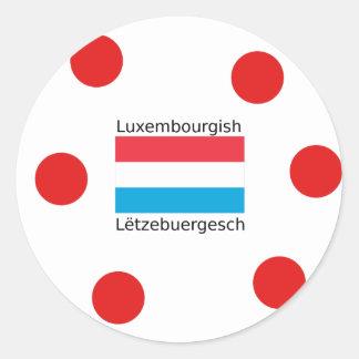 Adesivo Redondo Luxembourg embandeira e design luxemburguês da