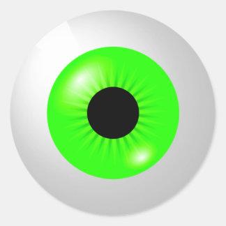 Adesivo Redondo Luz - globo ocular verde