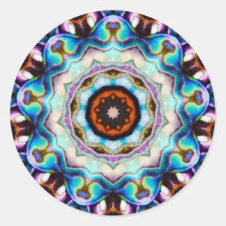 Adesivo Redondo Luzes azuis do Fractal de Paua Shell