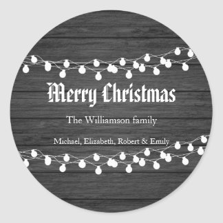 Adesivo Redondo Luzes de Natal de madeira pretas do feriado
