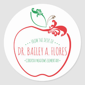 Adesivo Redondo maçã do flourish da mesa dos professores