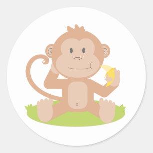 Adesivos Macaco Desenhos Animados Banana Zazzle Com Br