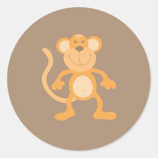 Adesivo Redondo Macaco bonito dos desenhos animados