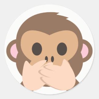 Adesivo Redondo Macaco Emoji do Falar-Nenhum-Mau