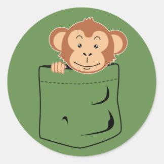Adesivo Redondo Macaco no bolso