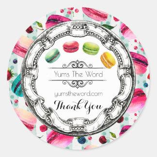 Adesivo Redondo Macarons colorido em obrigados do negócio das
