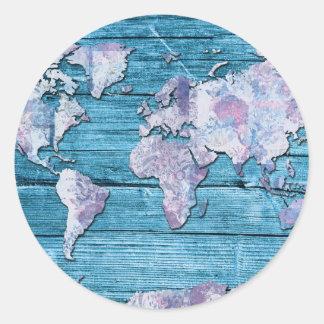 Adesivo Redondo madeira 15 do mapa do mundo