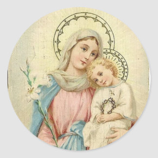 Adesivo Redondo Madonna abençoou Mary com bebê Jesus