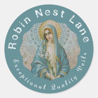 Adesivo Redondo Madonna abençoou o lírio da Virgem Maria