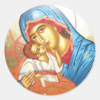 Adesivo Redondo Madonna com ouro religioso bizantino do ícone de