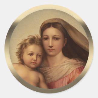 Adesivo Redondo Madonna Prang CC0970 de Sistine da criança de Mary