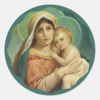 Adesivo Redondo Mãe abençoada que guardara o bebê Jesus