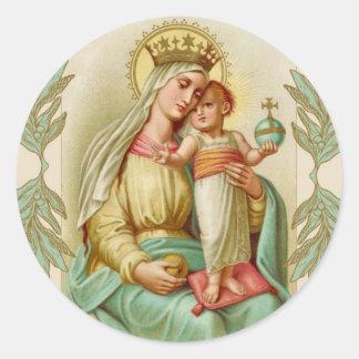 Adesivo Redondo Mãe abençoada que guardara o globo de Jesus da