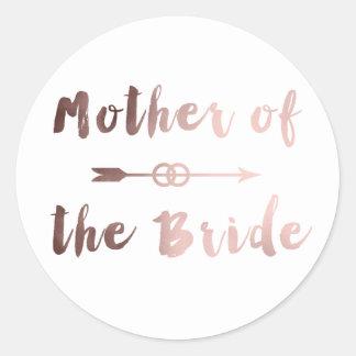 Adesivo Redondo mãe cor-de-rosa elegante do ouro do anel da seta