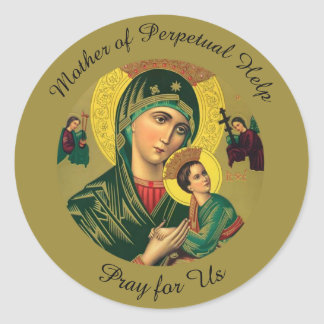Adesivo Redondo Mãe da ajuda perpétua com bebê Jesus