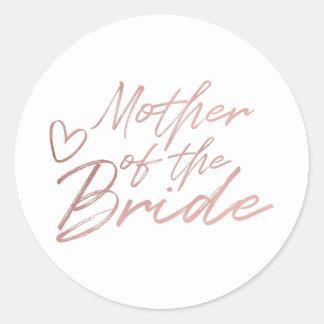 Adesivo Redondo Mãe da noiva - o falso cor-de-rosa do ouro foil a
