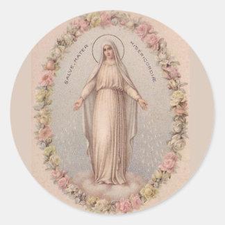 Adesivo Redondo Mãe da Virgem Maria de rosas do compaixão