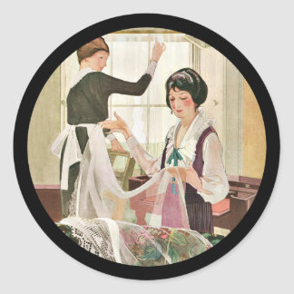 Adesivo Redondo Mãe e filha novas da máquina de lavar