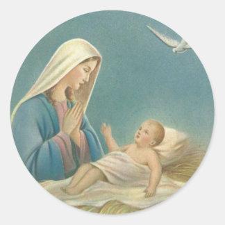 Adesivo Redondo Mãe Mary do Virgin e bebê Jesus