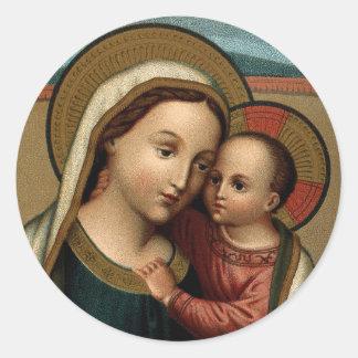 Adesivo Redondo Mãe Mary e Natal do Jesus Cristo do bebê